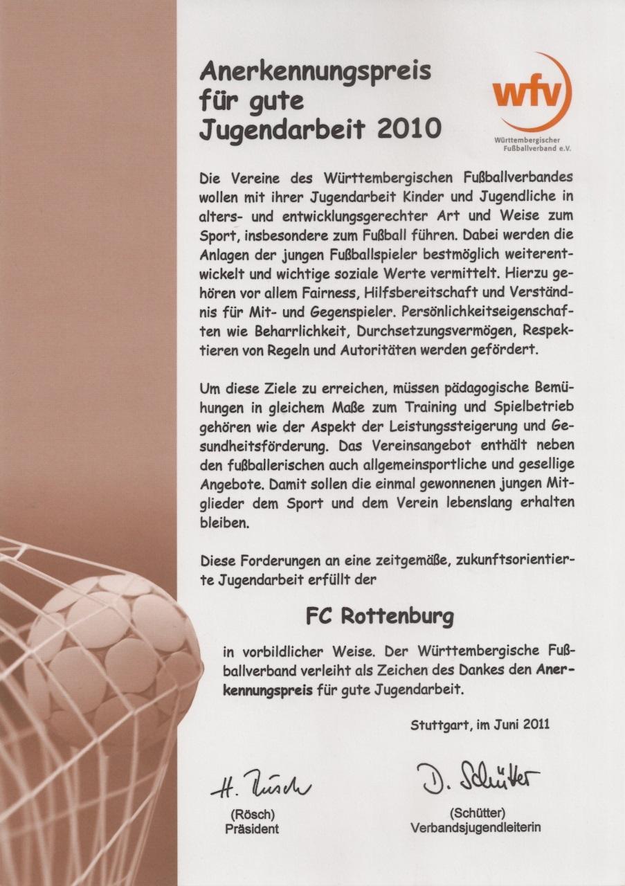 Urkunde wfv-Anerkennungspreis für gute Jugendarbeit 2010