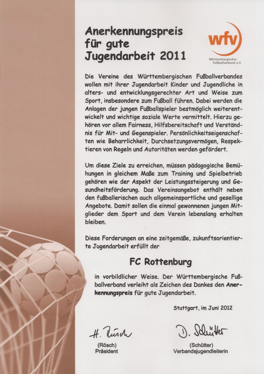 Urkunde wfv-Anerkennungspreis für gute Jugendarbeit 2011