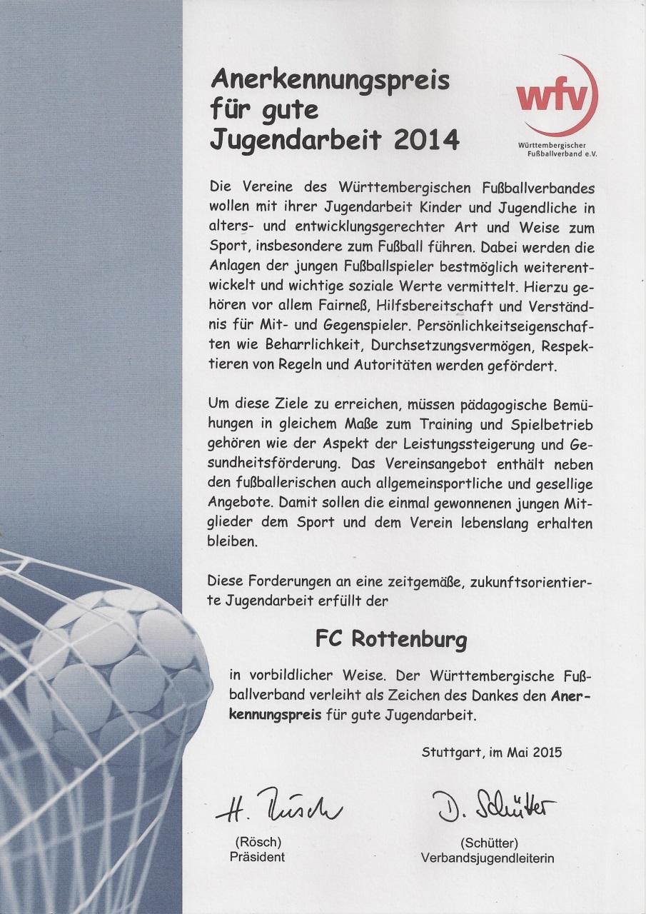 Urkunde wfv-Anerkennungspreis für gute Jugendarbeit 2014