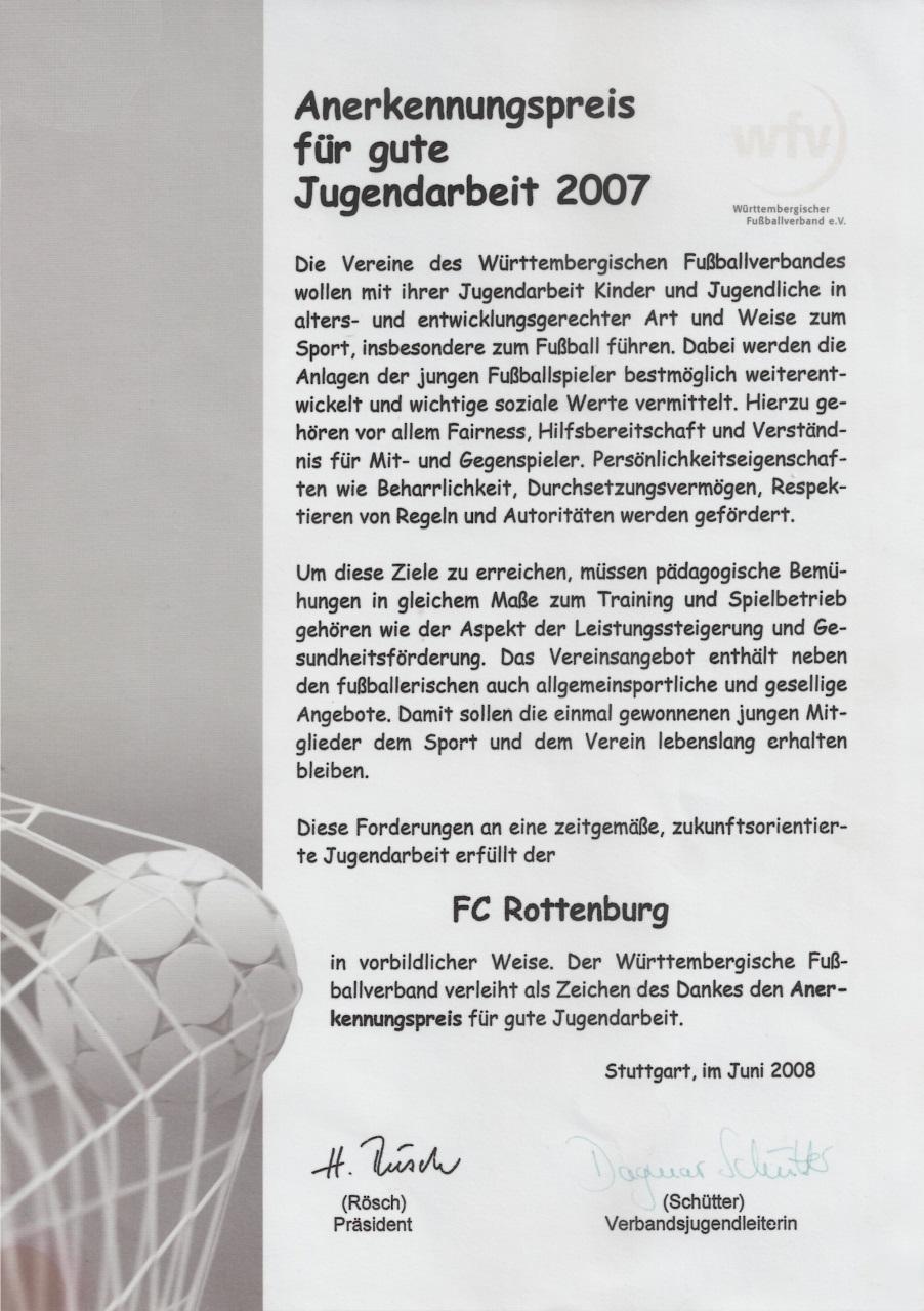 Urkunde wfv-Anerkennungspreis für gute Jugendarbeit 2007