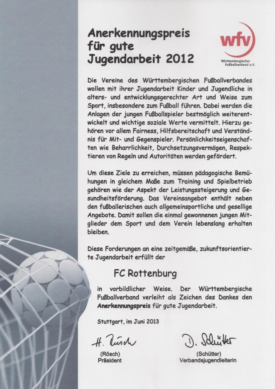 Urkunde wfv-Anerkennungspreis für gute Jugendarbeit 2012