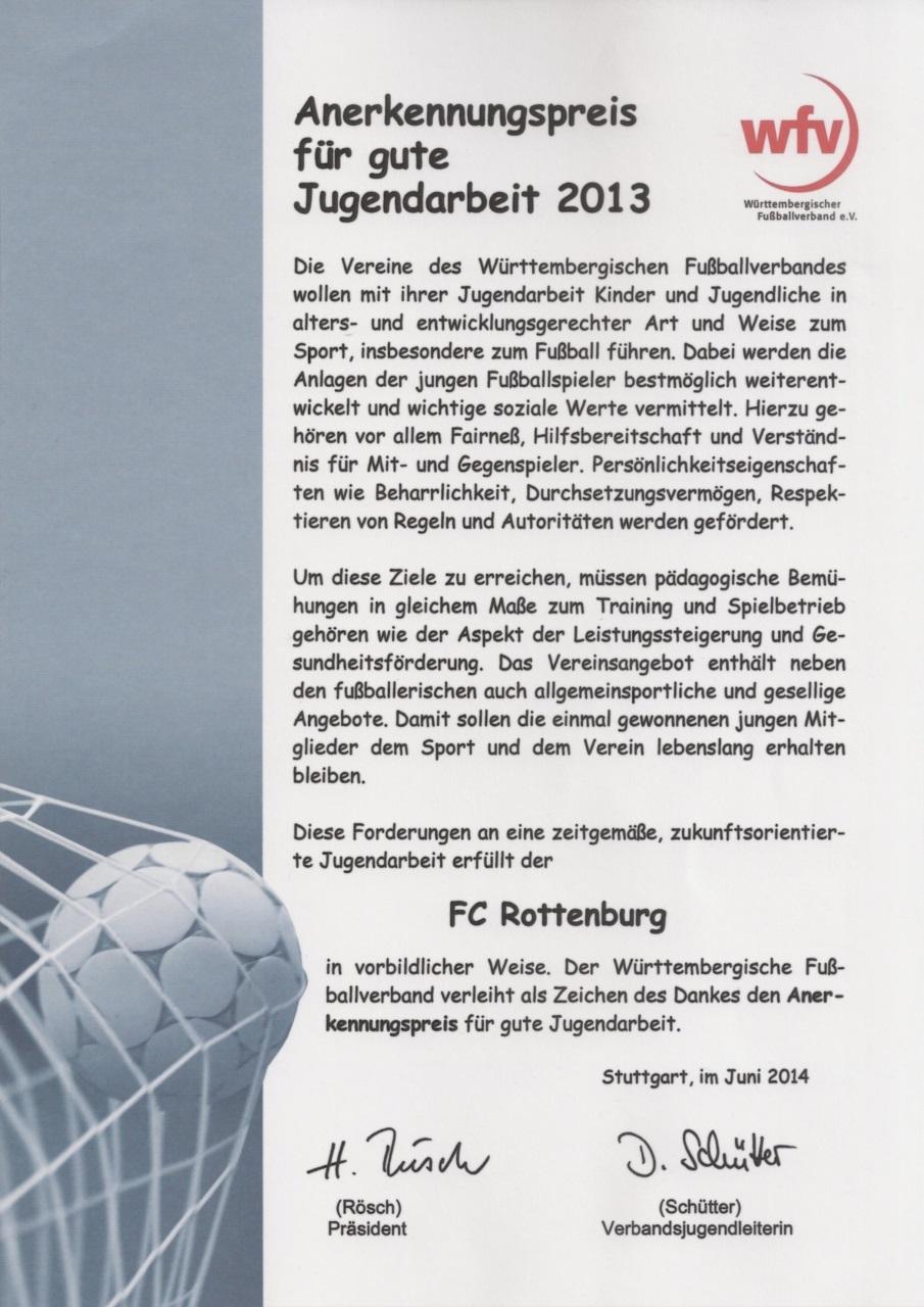 Urkunde wfv-Anerkennungspreis für gute Jugendarbeit 2013